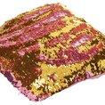 Housse de coussin magique avec paillettes mouvantes, rose/or