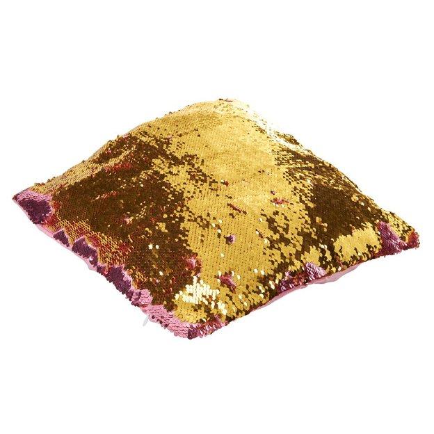 Magische Kissenhülle Wendepailletten Pink Gold