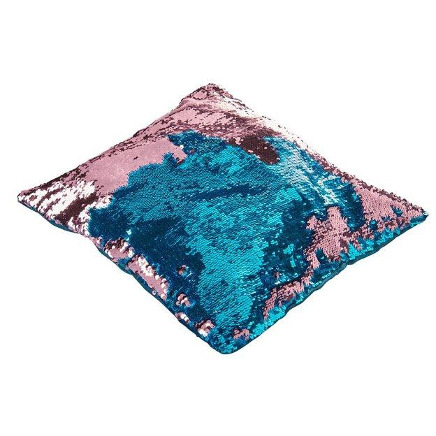 Magische Kissenhülle Wendepailletten Blau Rosa