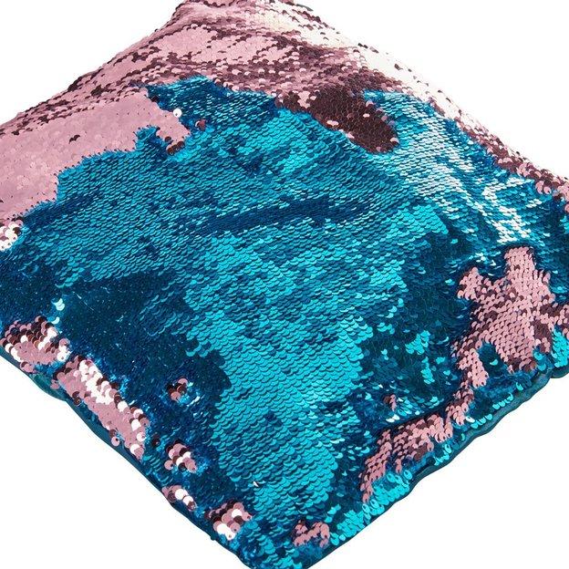 Housse de coussin magique avec paillettes mouvantes, bleu/rose