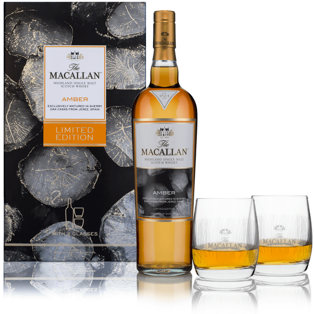 Macallan Amber 1824 Series, Single Malt Scotch Whisky mit 2 Gläsern 70cl