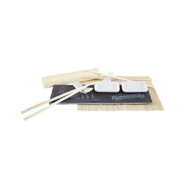 Galzone Servierplatte Sushi 9-teilig Grösse 30.5x19x2.5cm, Schiefer/Porzellan