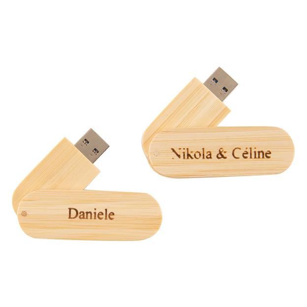 Clé USB personnalisée en bois, brun clair