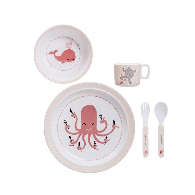 Geschirr & Besteck Set aus Melamin rosa