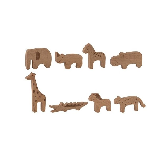 Figurines en bois Zoo, 8 animaux