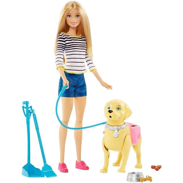 Poupée Barbie Et Son Chien Qui Marche Et Fait Des Crottes