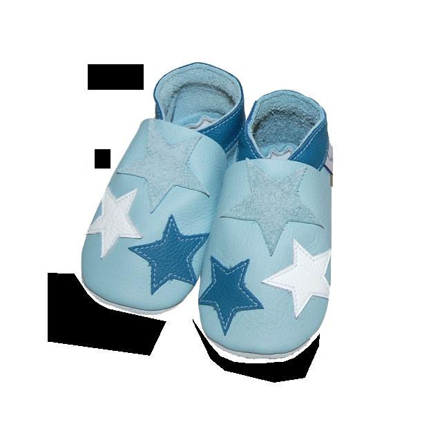 Leder Krabbelschuhe für Kinder Sterne XL