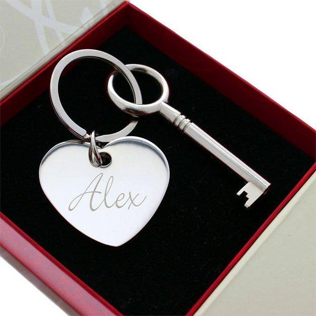 Personalisierbares Herz mit Schlüssel Anhänger