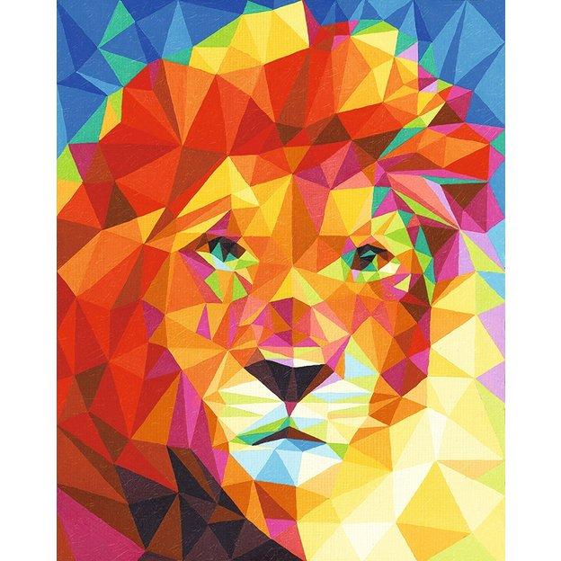 Malen nach Zahlen Löwenkopf mit Leinenstruktur