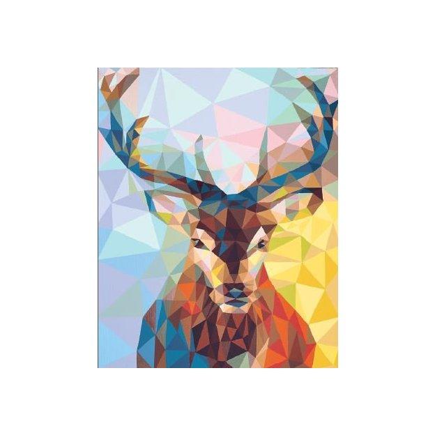 Peinture par numéros, motif cerf, avec toile prédessinée