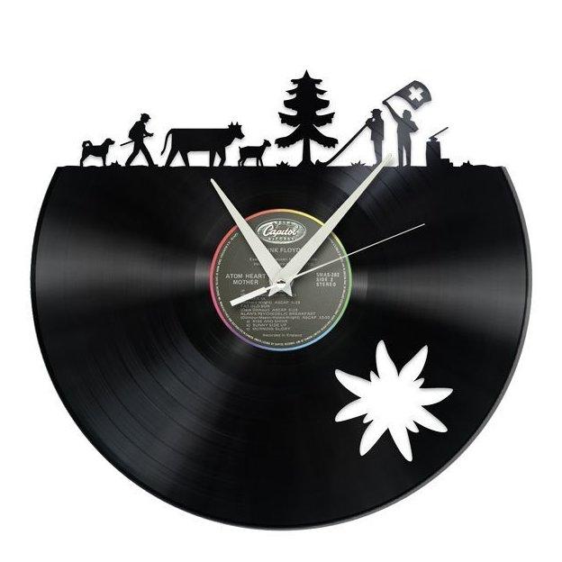 Schallplatten Wanduhr Alpaufzug