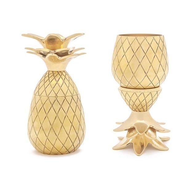 2 verres à shot Ananas de W&P Design NYC, or