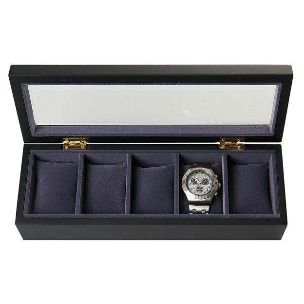 bo te de rangement personnalis e pour montres noire. Black Bedroom Furniture Sets. Home Design Ideas
