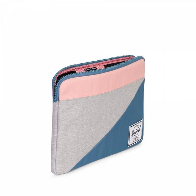 "Herschel MacBook Anchor Sleeve 13"" Light grey crosshatch Aegean Blue Peach"