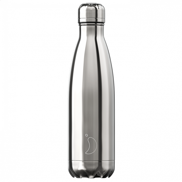 Chilly's Bottles, Trinkflasche-Chrom Silber-Standard-500ml