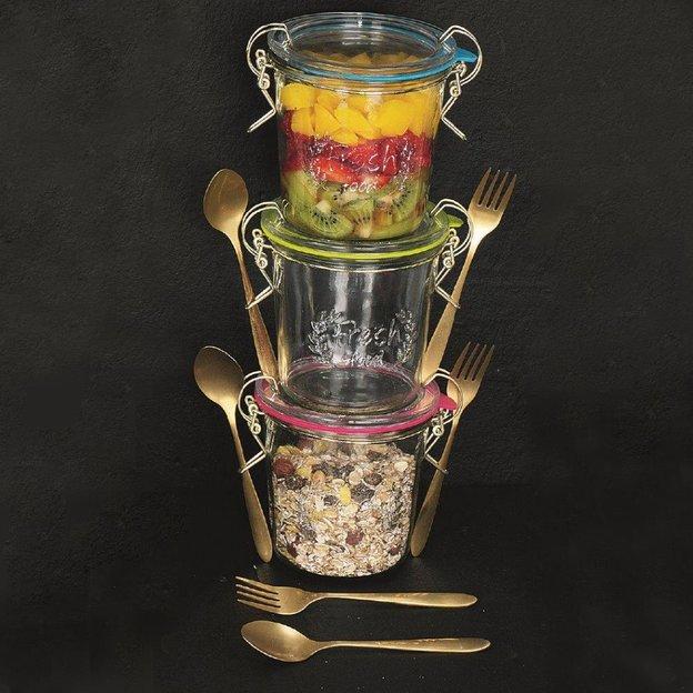 Lunchbox Glas mit Besteck 3er Set