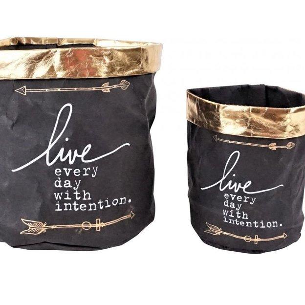 cache pots sacs en papier chic set de 2. Black Bedroom Furniture Sets. Home Design Ideas