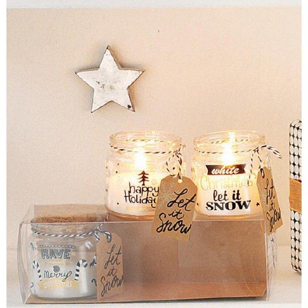Bougies de Noël dans des bocaux, set de 3