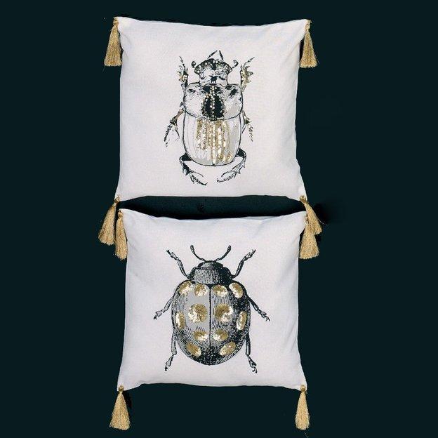 Kissenhüllen Käfer mit Pailletten 2er Set