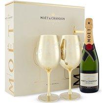 Coffret Moët & Chandon Brut 75 cl avec 2 verres dorés