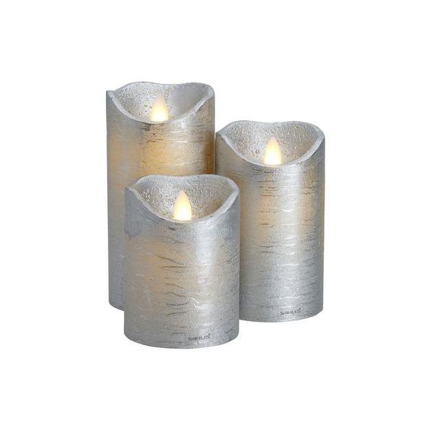 Sirius LED-Kerzen Set Sara 3-teilig silber