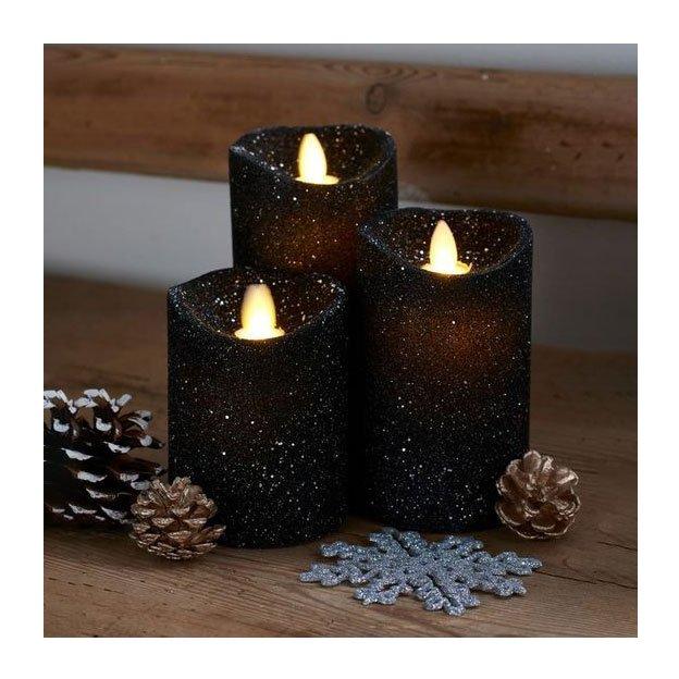 Sirius LED-Kerzen Set Sara 3tlg galaxy glit