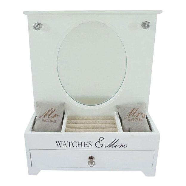 Schmuck- & Uhrenbox mit Spiegel