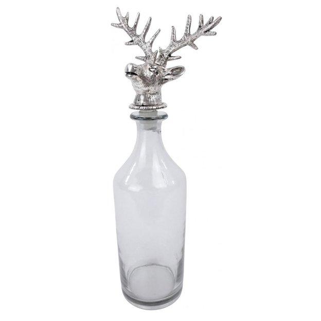 Flasche Hirsch aus Glas & Metall