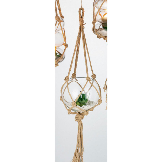 Blumenampel Jute & Glas Ø 24cm