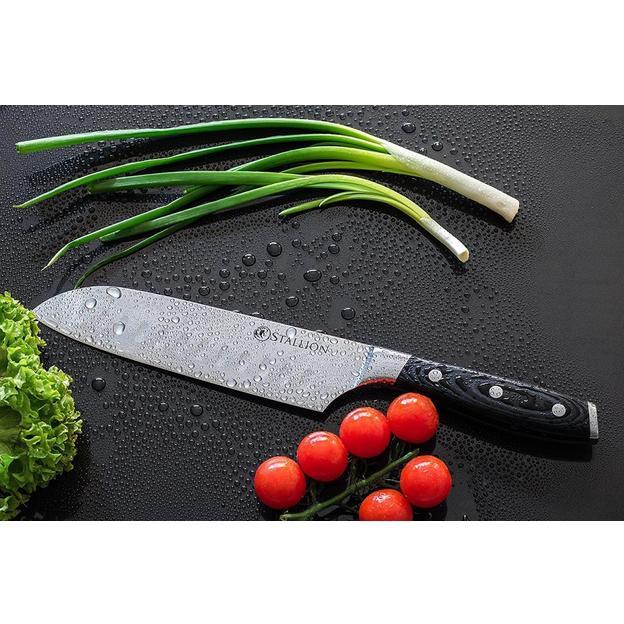 Couteau santoku personnalisé en acier Damas japonais Stallion avec coffret