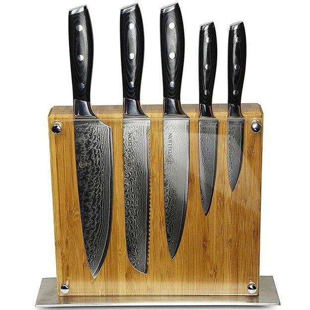 5 couteaux en acier de Damas avec bloc Stallion
