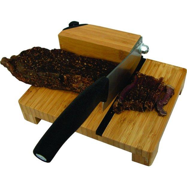 Biltong-Schneider aus Bambus mit Messerschärfer
