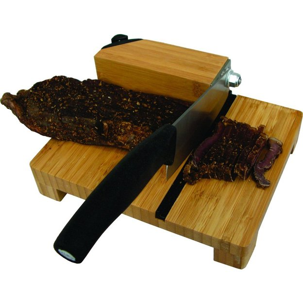 Personalisierbarer Biltong-Schneider aus Bambus mit Messerschärfer