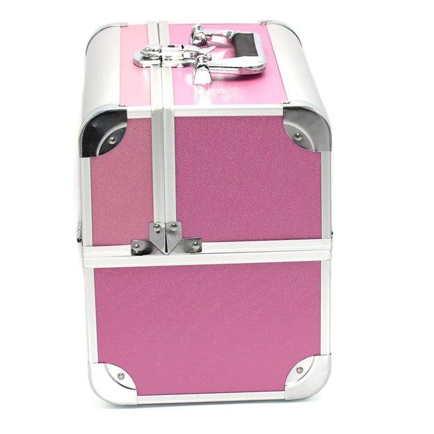 Aufklappbarer Schminkkoffer Pink