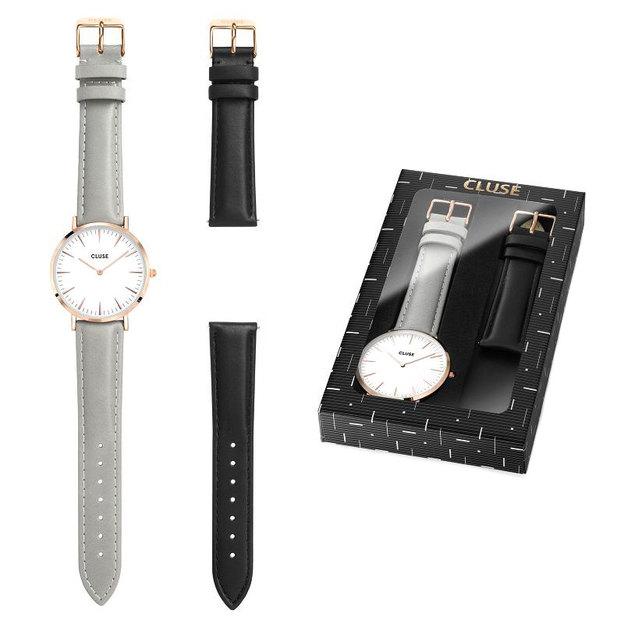 Coffret cadeau Cluse La Bohème - montre avec bracelets gris et noir ... d8e975e9703