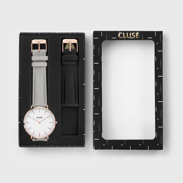 Cluse Geschenkset La Bohème Rose Gold White/Grey + Black Strap