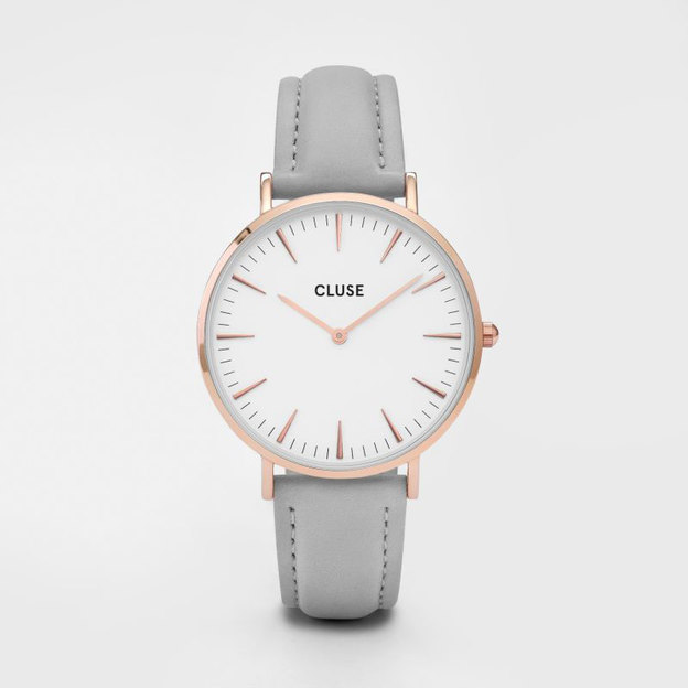 Coffret cadeau Cluse La Bohème - montre avec bracelets gris et noir