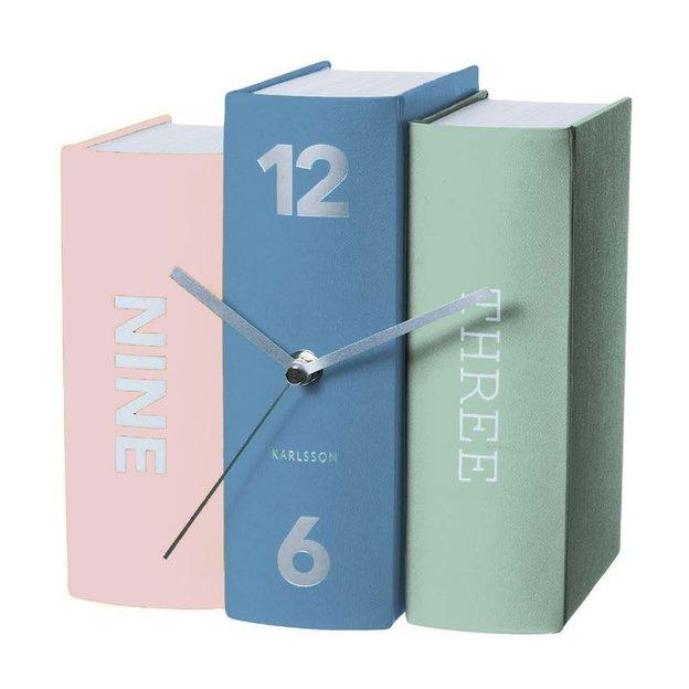 Tischuhr Bücher farbig