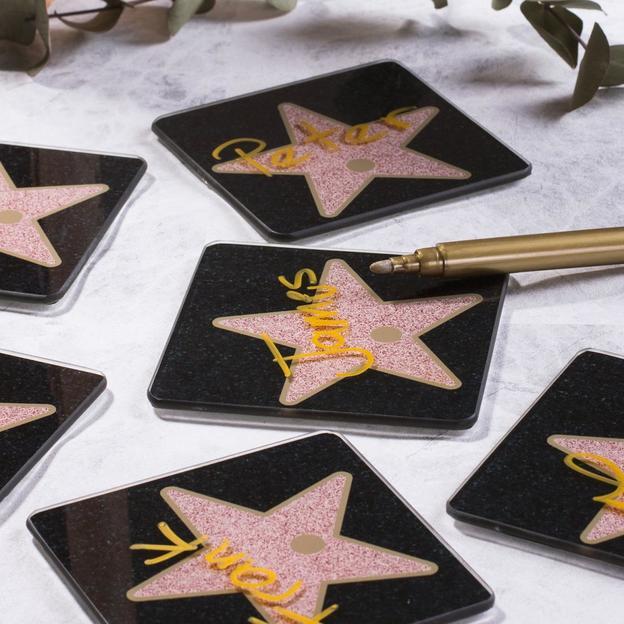 Untersetzer beschreibbar - Hollywood Sterne aus Glas
