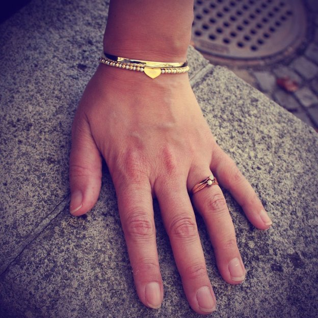 Bracelet de perles Cœur personnalisé, argent sterling