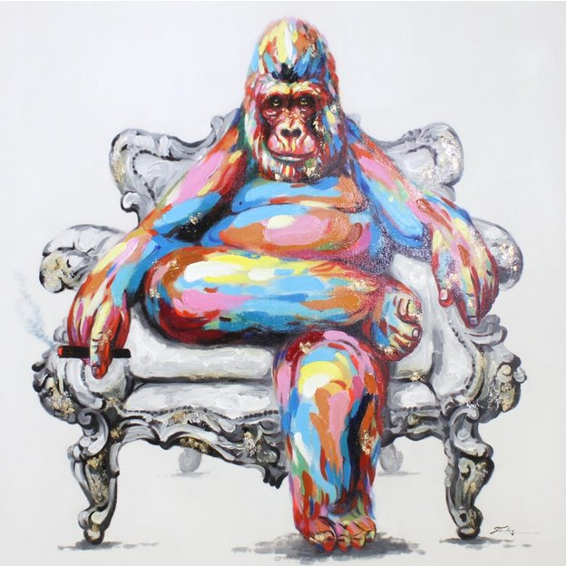 Bild Gorilla 100 x 100cm handgemalt