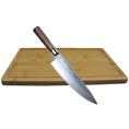 Professionelles Damast Steel Kochmesser inkl. 2 Bambus Schneidebretter