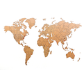 Puzzle carte du monde en bois - déco do it yourself - 150 x 90 cm - brun