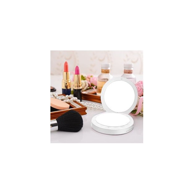Miroir de maquillage LED avec powerbank – blanc