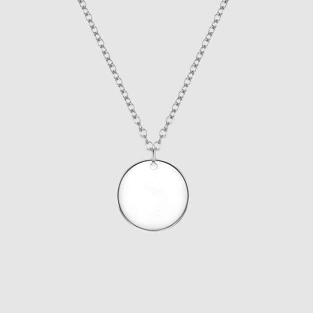 Personalisierbare Halskette mit rundem Anhänger silber