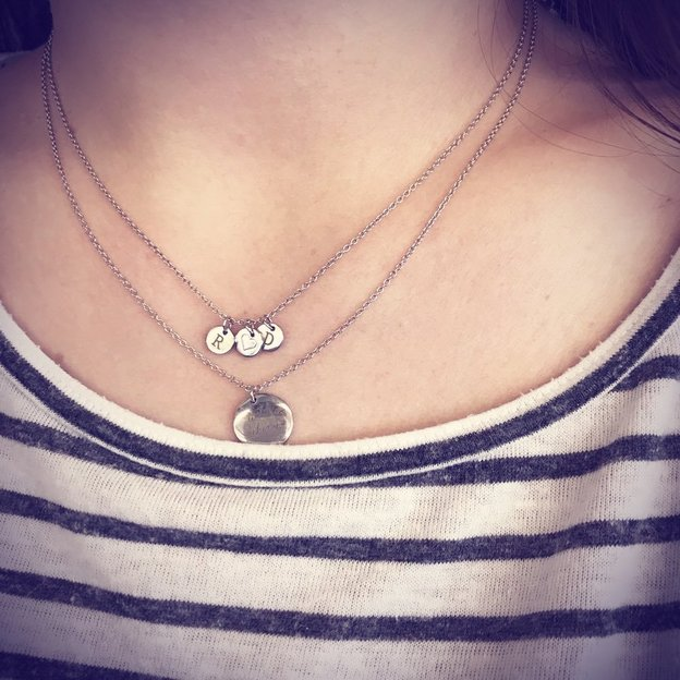 Personalisierbare Halskette 3 Anhänger Love Silber