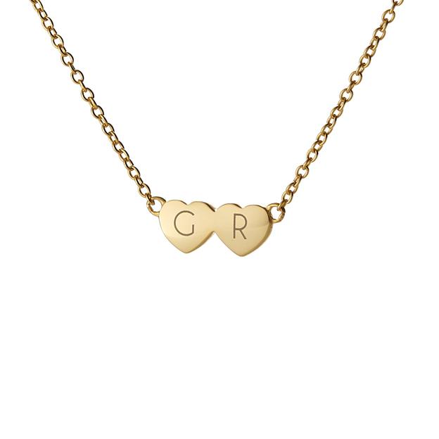 Collier personnalisé 2 cœurs, argent sterling - doré
