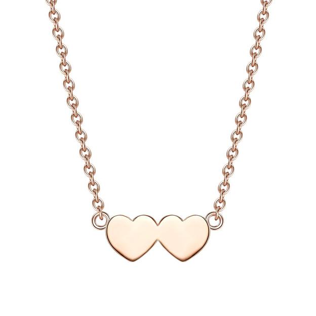 Personalisierbare Halskette 2 Herzen Silber roségold
