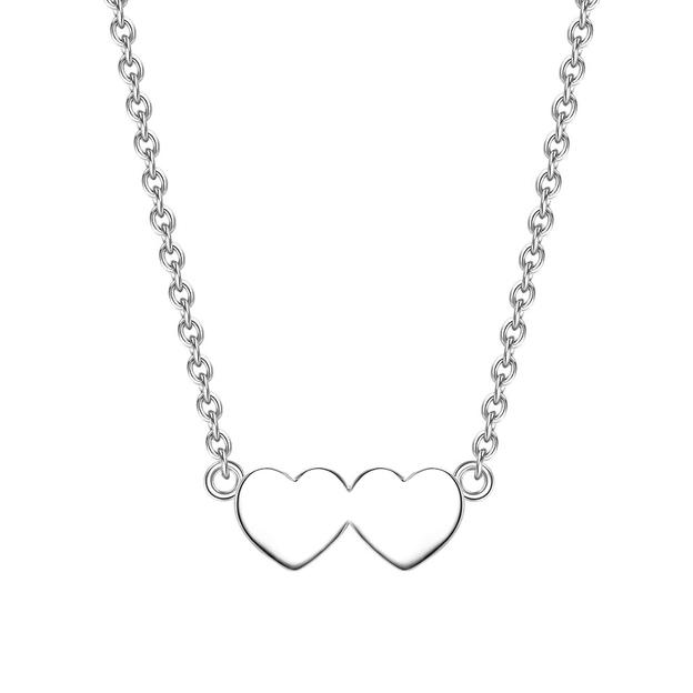 Personalisierbare Halskette 2 Herzen Silber silber