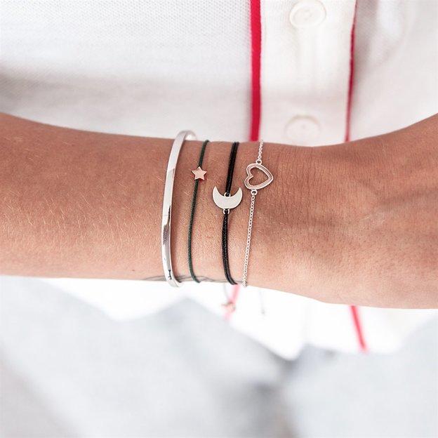 Bracelet personnalisé en argent sterling, avec symbole cœur